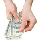 Money. With hand isoalted on white Stock Photo