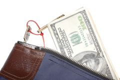 Money. Bank security bag with dollar bills isolated on white Royalty Free Stock Photos