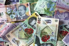 Money. Lots of Romanian money  bills Royalty Free Stock Photos