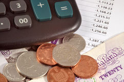 Money. British money with calculator Stock Images
