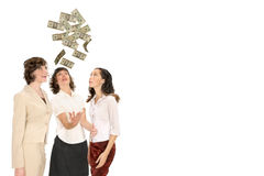 Money from above. Women reach for money from above isolated on white with copy space Stock Photos