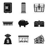 Money abundance icons set, simple style. Money abundance icons set. Simple set of 9 money abundance vector icons for web isolated on white background Stock Photography