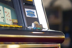 Money acceptor on a slot machine... Royalty Free Stock Image