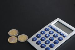 Money accounting. Money and calculator showing banking accounting or savings concept Stock Photography