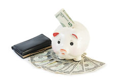Money accumulation concept. Money and piggy bank Stock Image