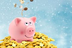 Money accumulation concept. Money and piggy bank investor fund, copy space stock photo