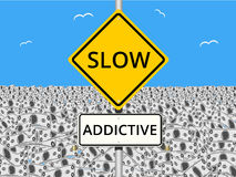 Money is Addictive. An illustration of Slow Addictive Road Sign with a field of bank notes or cash in the background Stock Image