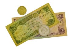 Money of Afghanistan. Paper denominations and coins on a white background Stock Photos