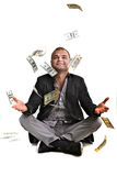 Money in the air. Money flying around the young man Royalty Free Stock Image