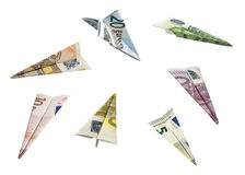 Money Airplanes. EURO Currency Airplanes (with clipping paths Royalty Free Stock Images