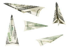 Money Airplanes. Hundred Dollar Airplanes (with clipping path Stock Photo