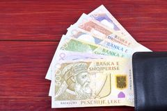 Money from Albania. In the black wallet stock photo