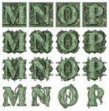 Money Alphabet M to P Stock Photo