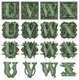 Money Alphabet U to X. Photo-Illustration using parts of U.S. currency bills retouched and re-illustrated to create a new Money-themed alphabet. Seven total Stock Image