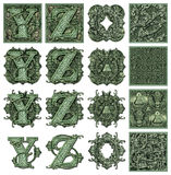 Money Alphabet Y to Z. Photo-Illustration using parts of U.S. currency bills retouched and re-illustrated to create a new Money-themed alphabet. Seven total Stock Images