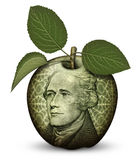 Money Apple. Photo Illustration using parts of U.S. currency bills restructured as an apple Stock Photo