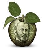 Money Apple. Photo Illustration using parts of U.S. currency bills restructured as an apple Stock Photography