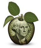 Money Apple. Photo Illustration using parts of U.S. currency bills restructured as an apple Stock Photos