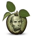 Money Apple. Photo Illustration using parts of U.S. currency bills restructured as an apple Royalty Free Stock Photo