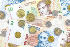 Money from Argentina, peso banknotes and coins. Stock Photography