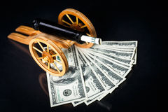 Money on arms Stock Image