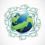 Money around a globe. illustration. Design over a white background Royalty Free Stock Photo