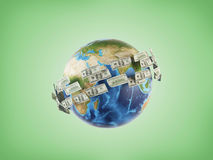 Money around planet. Money flying around the planet, 3d render Stock Image