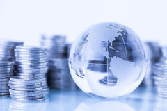 Money around world. Concept of money around the world on white background royalty free stock photo