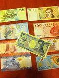 Money around the world. Money from my friend who lives at japan Royalty Free Stock Image