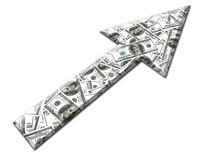 Money Arrow. Arrow made from hundred dollar bills on white background Stock Photo
