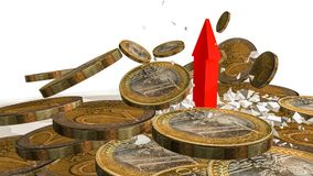 Money arrow breaking up euro coins - 3d rendering Royalty Free Stock Image