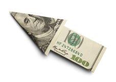 Money Arrow. Hundred Dollar Arrow Isolated On White Background stock photography