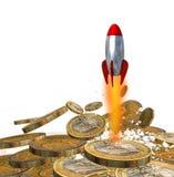 Money arrow breaking up euro coins - 3d rendering. Money arrow rocket missile  breaking up euro coins bussines finance backgroud - 3d rendering Stock Images