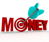 Money Arrow in Target Bulls-Eye Earn Riches Reach Goal Stock Photo