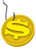 Money as a dangerous lure. Gold coin with the US currency symbol is strung on a fishing hook. Money as a dangerous lure. Concept. The three-dimensional Royalty Free Stock Photography