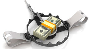 Money as a dangerous lure. Stack of packs of 100 dollar American bills, tied with a ribbon, as bait in trap on a white surface. Isolated. 3D Illustration Royalty Free Illustration