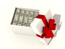 Money as a gift. Isolated white Stock Photography