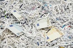 Money as paper. For recycling stock photo
