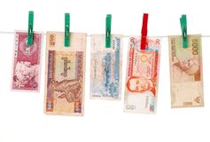 Money of asian countries Royalty Free Stock Photos
