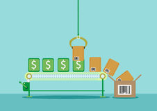 Money on Assembly Line converted into Products. Flat Concept illustration of Assembly Plant converting money into products for delivery. Vector eps10 and raster royalty free illustration
