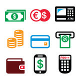Money, ATM - cash machine vector icons set Royalty Free Stock Photography
