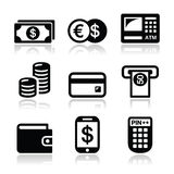 Money, atm - cash mashine vector icons set Royalty Free Stock Photo