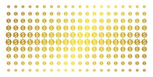 Money Award Golden Halftone Pattern. Money award icon golden halftone pattern. Vector money award objects are organized into halftone array with inclined golden Stock Photo