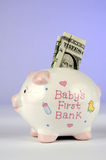 Money in baby's piggy bank. American dollar partially inserted in slot of baby's first piggy bank, studio background royalty free stock photos