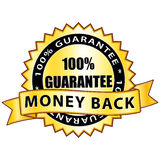 Money Back. 100% guarantee golden sticker Stock Photos
