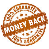 Money back. Vector grunge brown stamp Royalty Free Stock Photo