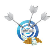 Money back blue target illustration. Design graphics Royalty Free Stock Images