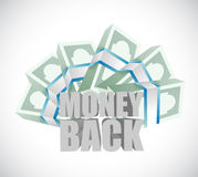 Money back and cash bills Royalty Free Stock Photos