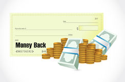 Money back check and cash illustration Royalty Free Stock Photography