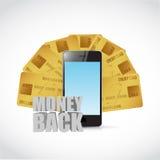 Money back credit cart and phone Stock Photos